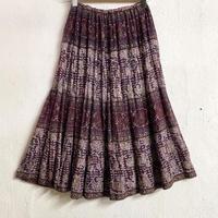 1970's Indian vintage コットンゴールドスタンプスカート (WINE RED) [7445]