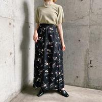 花柄×サイドボタンデザイン レーヨンスカート[7964]