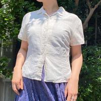 EURO vintage ボタニカル刺繍入り コットンリネンオープンカラー シャツ [2249]