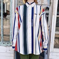 Ralph Lauren 「CHAPS」deadstockストライプ柄コットンシャツ [7547]
