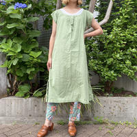 1920s french antique イニシャル入りリネンワンピース (green overdyed) [2199]