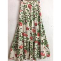 フロントボタン花柄ロングスカート (WHITE) [9026]