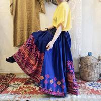 VINTAGE 花と模様と無地切り替えインド刺繍ボリュームスカート(NAVY) [7320]