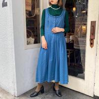 vintage くすみブルー×花柄プリント ノースリーブチロルワンピース [2066]