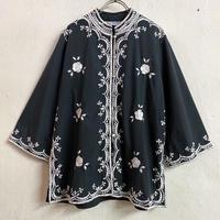 1970'S VINTAGE 「CHUCHI」 フィリピン刺繍シャツ (BLACK×WHITE) [9033]