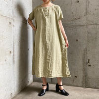 1920'S  French Antique レースデザイン リネンドレス (PALE GREEN overdyed) [7846]