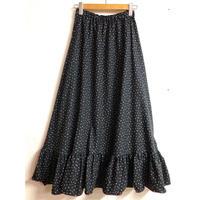 ドット柄裾フリルマキシスカート(BLACK)[7217]