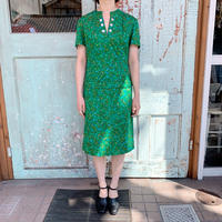 1960's Green Flower Print Classical Dress[1011]
