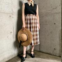 1950s ブラウン系 チェック フレアスカート