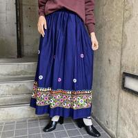 1970s vintage ミラーワーク刺繍フレアスカート [9856]