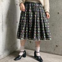 1950〜60'S  VINTAGE 花×女の子 カントリー柄 フレアスカート[9750]