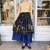 1950's vintage メキシコ ハンドペイントバラ柄サーキュラースカート(BLACK)[7022]