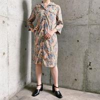 vintage ペイズリーパターン deadstock オープンカラーシャツワンピース[8026]
