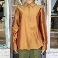 1990〜00s【express】オレンジ系シャイニーシルクシャツ [7554]