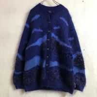 モヘア×アンゴラ デザインニットカーディガン(BLUE)[7271]