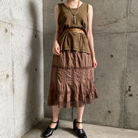 1920'S  French antique レース×ピンタックデザインペチコートスカート (BROWN overdyed) [7947]