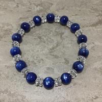 カイヤナイト、水晶ブレスレット No.18651