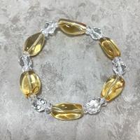 黄水晶、水晶ブレスレット No.18642