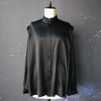 """【受注生産】zechia Black ハイネックシャツ """"Harry Ley"""" / シルクサテン ブラック"""