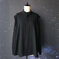 """【受注生産】zechia Black ハイネックシャツ """"Harry Ley"""" / ツイル ブラック"""