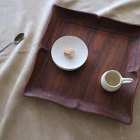 森田孝久  蝶型四角皿・ウォールナット