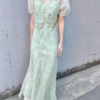 1930s organdy dress with green slip