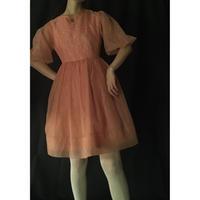1950s coral pink chiffon dress