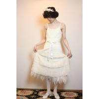 White tulle and feather dress