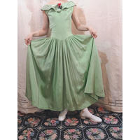 1940s Satin green dress
