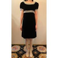 1970s blacu velvet dress