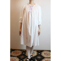 Antique Cotton Nighty with Lilac Velvet Ribbon