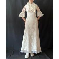 1970s white ruffle wedding dress