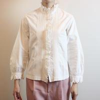 T72 Antique Cotton Stand Collar Blouse