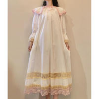 overlace night dress  white pink
