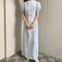 1970 pale blue lace long dress