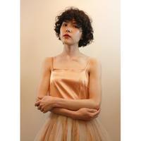 peach satin tulle dress