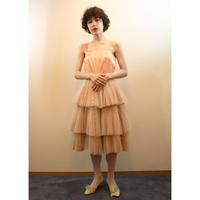 1950s peach satin tulle dress