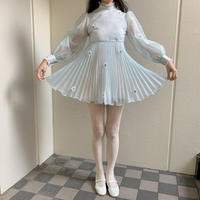 sheer dot pleated mini dress