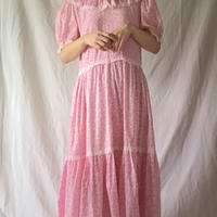 Pink puff sleeve handmade dress
