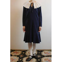 Pleated Collar Navy Velvet Dress