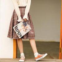 レディースファッション スカート ロングスカート ミディアム丈 チェック柄 Aラインスカート