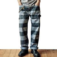 Prisoner pants 青×黒 囚人パンツ プリズナーパンツ ブルー×ブラック
