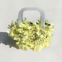 basket bag / yellow × white
