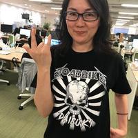 (デスメタル風)ロードバイク大好きTシャツ(ブラック × ホワイト)