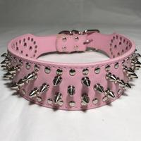 スパイク&スタッズカラー ピンク色