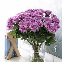 バラ 高級造花 大量25本 薔薇 ローズ アートフラワー シルクフラワー アレンジメント 花束 ブーケ プレゼント お祝い 結婚式 紫 パープル