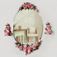 バスミラー 浴室用 鏡 薔薇 バラ 花 オーバル 大型 アンティーク風 おしゃれ 豪華 バロック ロココ 壁掛けウォールミラー ピンク