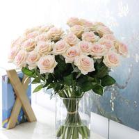バラ 高級造花 大量25本 薔薇 ローズ アートフラワー シルクフラワー アレンジメント 花束 ブーケ プレゼント お祝い 結婚式 シャンパン(クリーム~ピンク系)
