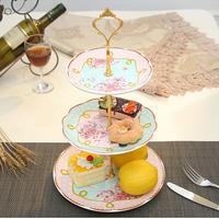 高級アフタヌーンティー用ケーキスタンド ケーキ台 ケーキ スタンド プレート 3段セット アフタヌーンティー フルーツ トレー 皿 フェミニン 上品