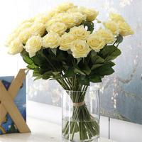 バラ 高級造花 大量25本 薔薇 ローズ アートフラワー シルクフラワー アレンジメント 花束 ブーケ プレゼント お祝い 結婚式 黄色 ライトイエロー